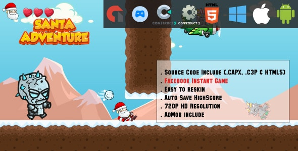 Santa's Adventure - HTML5 Game - Mobile, Facebook Instant Game & Web (HTML5, CAPX & C3P) - CodeCanyon Item for Sale