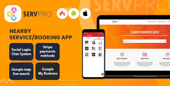 SERVPRO – On Demand Nearby Service Provider & Booking Finder App (Web + Android + iOS)