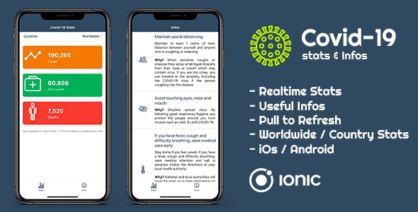 Covid-19 - Stats & Infos iOs / Android Mobile App (Ionic 5)