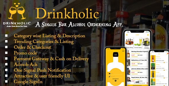 Drinkholic(iOS) - A Single Restaurant/Pub/Bar Drinks ordering app. - CodeCanyon Item for Sale