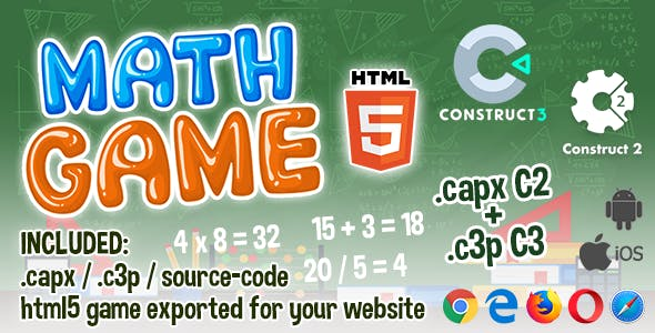 Math Game HTML5 - Construct 2 & 3 (.capx + .c3p + source-code)
