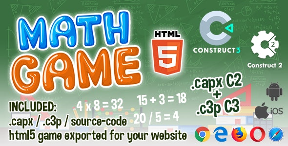 Math Game HTML5 - Construct 2 & 3 (.capx + .c3p + source-code) - CodeCanyon Item for Sale