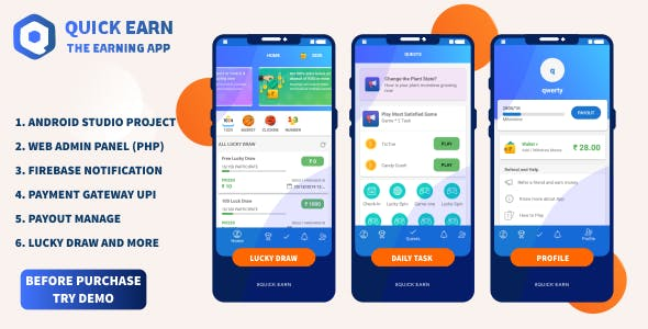 Quick Earn v1.5 | Play Fantasy Game Luky Draw With Paypal Payment Gateway