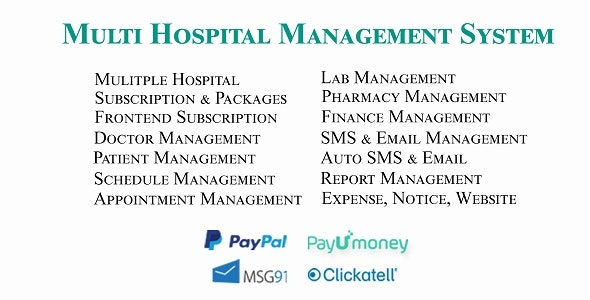Multi Hospital - Hospital Management System (Saas App) - CodeCanyon Item for Sale