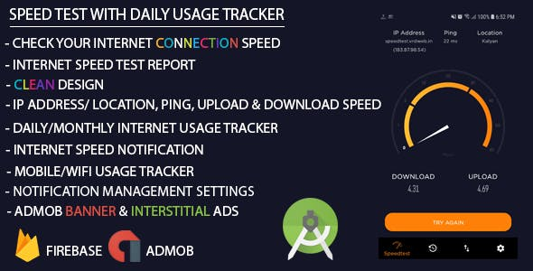 Internet Speed Test with Daily Usage Tracker (Admob + Firebase)