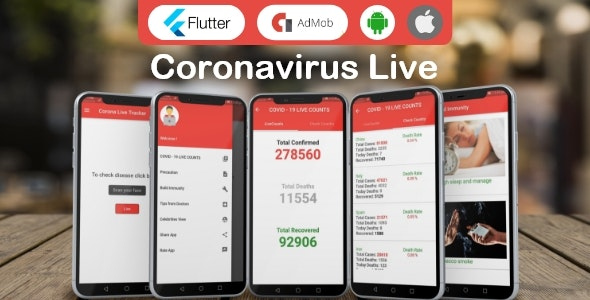 Corona Virus Live Status, Safety Guide with Admob. Flutter App - CodeCanyon Item for Sale