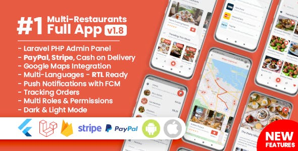 Food Delivery Flutter + PHP Laravel Admin Panel