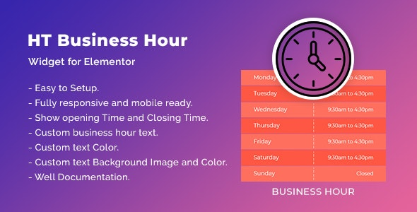 HT Business Hour Widget for Elementor - CodeCanyon Item for Sale