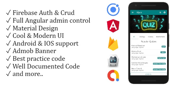 EQuiz - Full Quiz Application IONIC 5 with Angular 9 Admin Panel + AdMob Banner - CodeCanyon Item for Sale