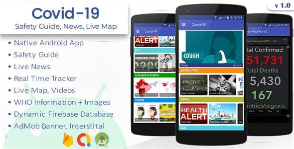 Covid 19 - Safety Guide, Real Tracker, Live News - CodeCanyon Item for Sale