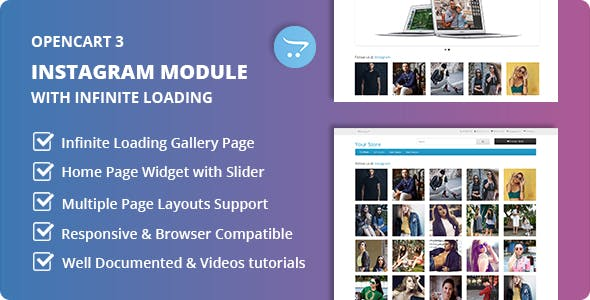 Instagram Module with Home Page Widget and Infinite Loading Page Gallery for Opencart
