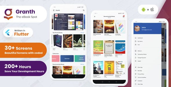 Granth - Flutter Ebook App + Admin panel