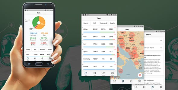 Coronavirus (COVID-19) Live Cases Tracker App - Charts + Map + Flutter(Android&IOS)