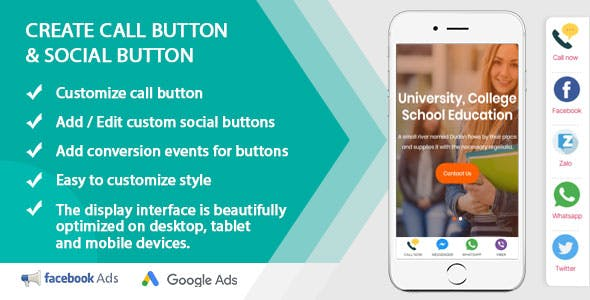 Create custom call buttons and social networks