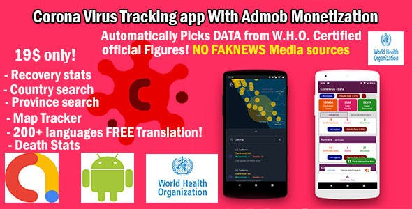 Corona virus real time tracker with Admob support to make money through app - CoronaCash
