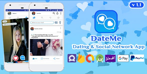 DateMe - Android Dating - Social Network App with Facebook - Admob, Subscriptions - Purchases v1.1