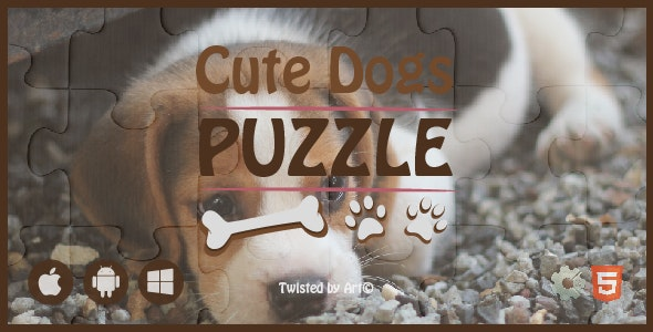 Cute Dogs Puzzle • HTML5 + C2 Game - CodeCanyon Item for Sale