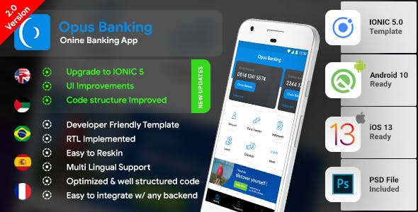 Online Banking Android App + online banking iOS App Template | Opus Banking (HTML+CSS files IONIC 5)