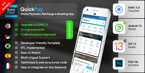 Online Payment, Recharge, Booking & Bill Payment Android + iOS App Template | HTML + Css IONIC 5