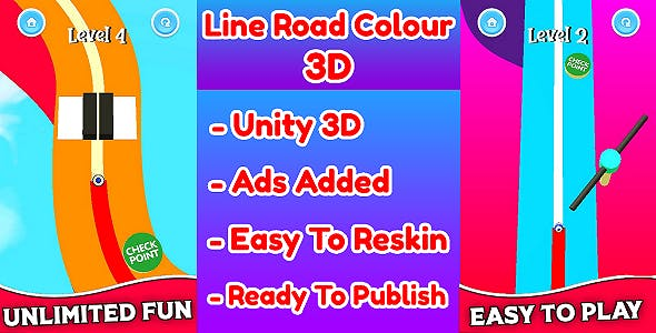Line Road Colour 3D Game Unity Source Code (Template) With Ads Integrated