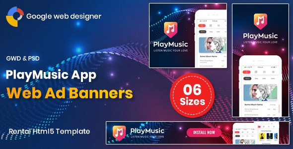 Play Music App Banners GWD - CodeCanyon Item for Sale