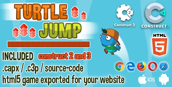Turtle Jump HTML5 Game - Construct 2 & 3