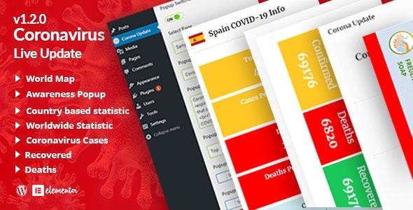Corona Updatepro | COVID-19 Live Update Widgets for WordPress Elementor - CodeCanyon Item for Sale