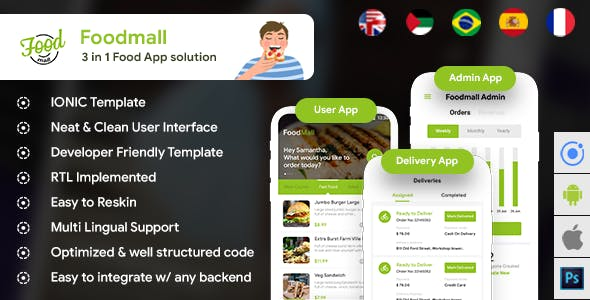 Food Ordering & Delivery Restaurant Android + iOS App Template |3 Apps| HTML + CSS IONIC 3| Foodmall