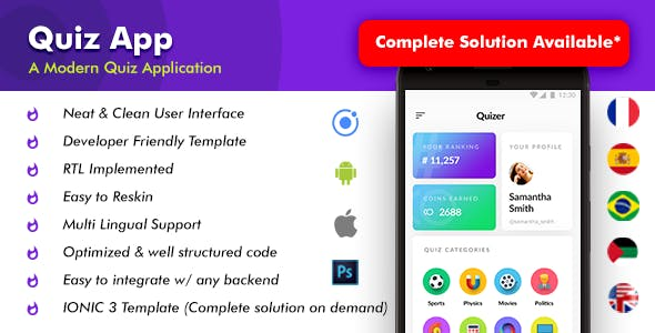 Quiz Android App Template + Quiz iOS App Template (HTML+CSS files IONIC 3) | Quizer