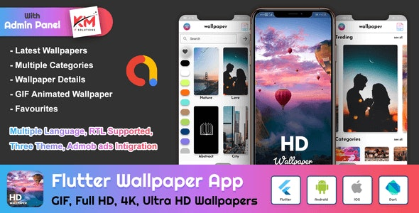 Flutter HD Wallpapers App With Admin Panel - CodeCanyon Item for Sale