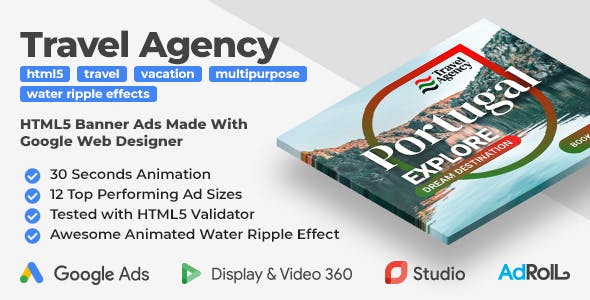 Travel Agency Animated HTML5 Banner Ad Templates With Water Ripple Effect (GWD, anime.js)