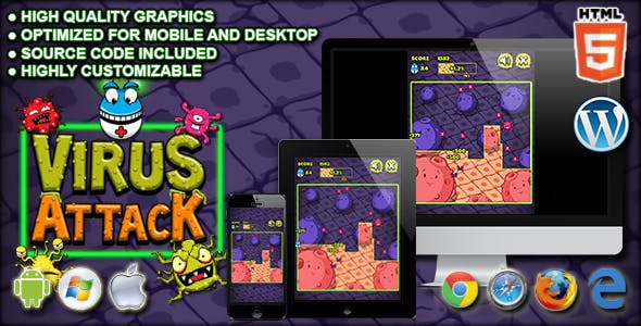 Virus Attack - HTML5 Arcade Game