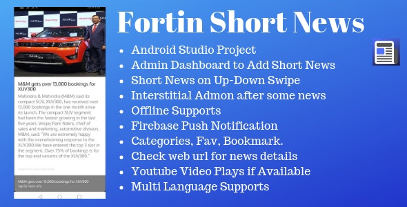 Fortin Short News Android App - CodeCanyon Item for Sale