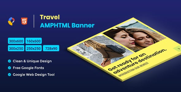 Travel AMPHTML Banners Ads Template