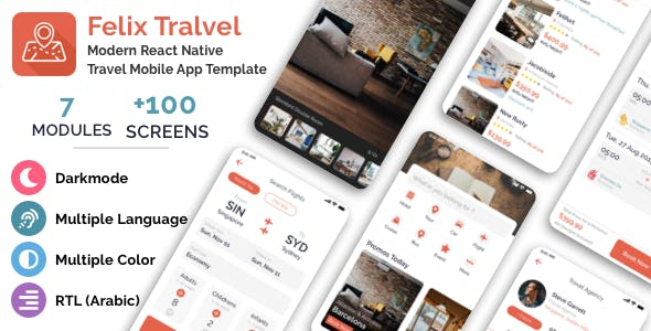 Felix Travel - mobile React Native travel app template