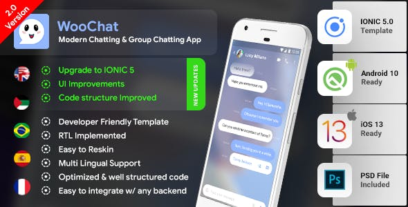 Chat & Group Chatting Android App Template + iOS App Template | HTML + Css IONIC 5 | WooChat