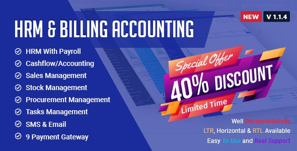 HRM With Billing & Accounting Software - CodeCanyon Item for Sale