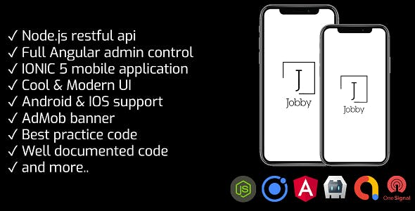 JOBBY - Full job portal application IONIC 5 with Angular 9 admin & Node.js REST API + Admob banner