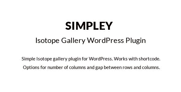 Simpley - Isotope Gallery WordPress plugin