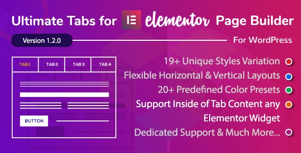 Ultimate Tabs - Addon for Elementor Page Builder WordPress Plugin - CodeCanyon Item for Sale