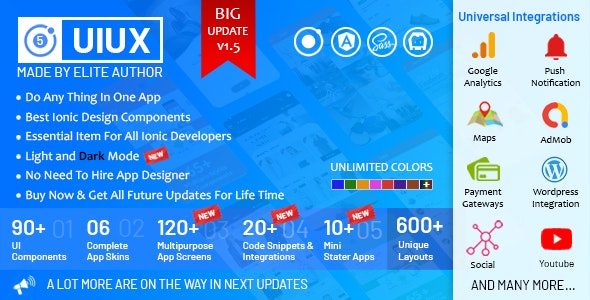 UIUX 5 in 1 -  Ionic 5 / Angular 8 Design Components, Screens, Code Snippets, App Skins & Mini Apps - CodeCanyon Item for Sale