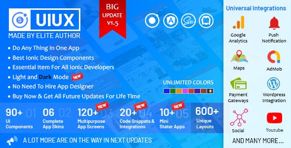 UIUX 5 in 1 -  Ionic 5 / Angular 8 Design Components, Screens, Code Snippets, App Skins & Mini Apps