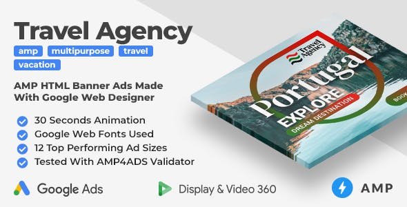 Travel Agency Animated AMP HTML Banner Ad Templates (GWD, AMP)
