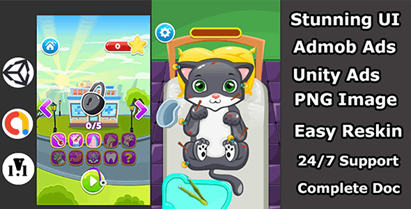 Sick cat Doctor Treatment unity3d android game - CodeCanyon Item for Sale