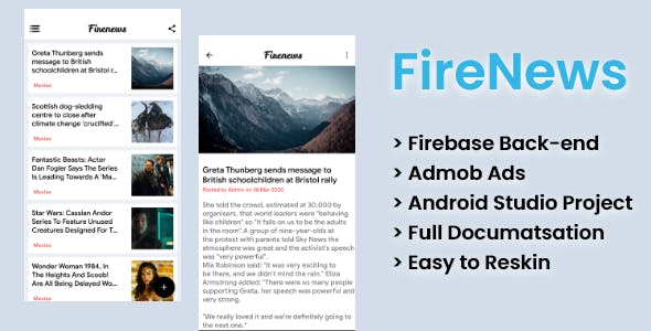 FireNews | Android News app with Firebase Back-end and Admob ads