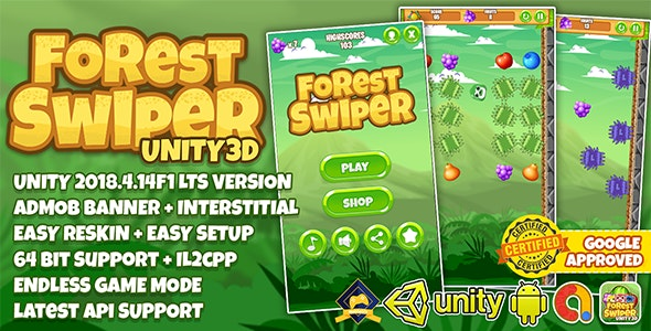 FOREST SWIPER UNITY3D + ADMOB + LATEST API SUPPORT + EASY RESKIN - CodeCanyon Item for Sale