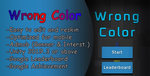 Wrong Color 3D | Unity Android Game | Admob | Easy Reskin - CodeCanyon Item for Sale