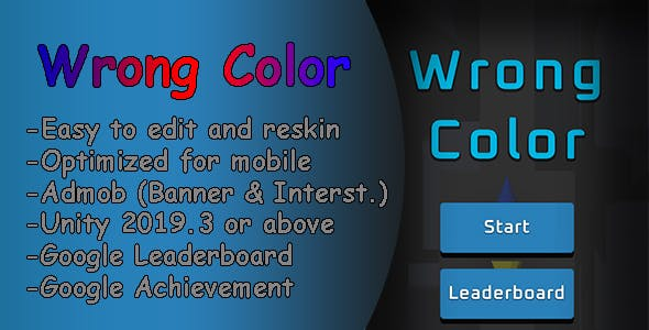 Wrong Color 3D | Unity Android Game | Admob | Easy Reskin