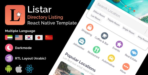 Listar - mobile React Native directory listing app template