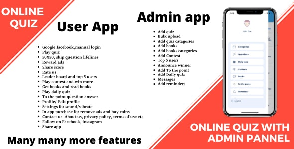 Online quiz + User app + Admin app + firebase - CodeCanyon Item for Sale